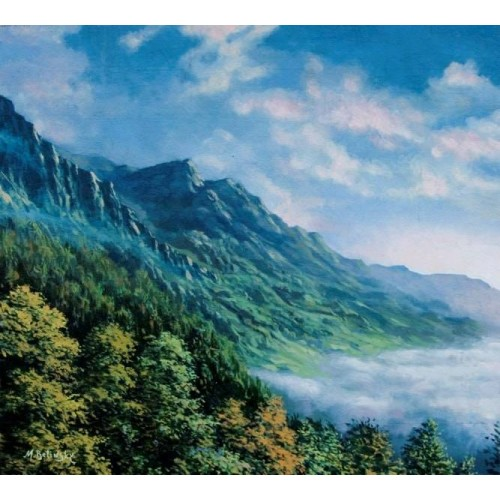 картина маслом, Молизе Италия, пейзаж, Горы Кампо
