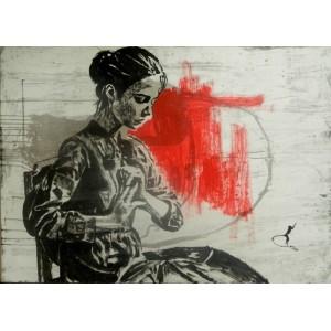 Сидящая дама в красном сердце