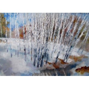 Зимний пейзаж с березами