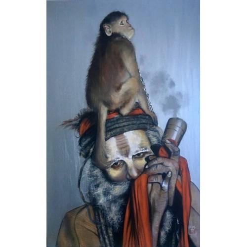 Sadhu, monkey, smoke