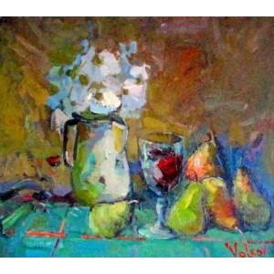 Натюрморт с грушами и цветами