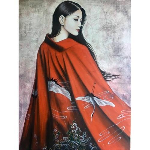 Geisha. Silver cranes