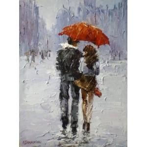 Под дождем. Двое