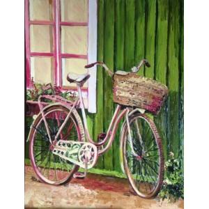 Велосипед, зеленая стена