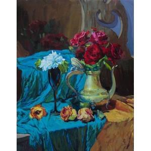 картина маслом, бордовые розы, натюрморт розы