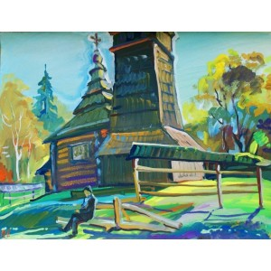 Пейзаж с деревянной церковью
