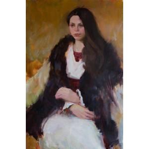в кожусі, картина портрет, молода дівчина