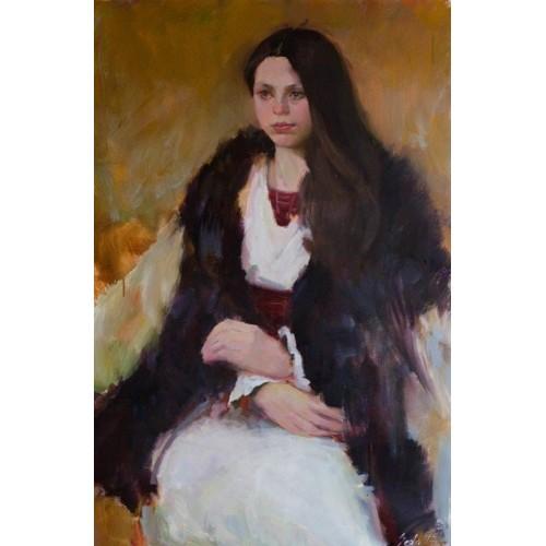 в кожухе, картина портрет, молодая девушка