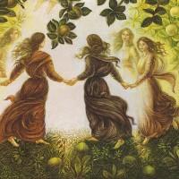 картина маслом, Apple girl, Яблочная девушка, Хоровод девушек, Миколайчук Владимир