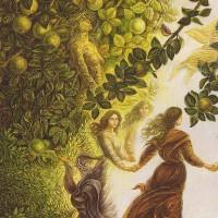 картина маслом, Apple girl, Яблочная девушка, Хоровод за руки, Миколайчук Владимир
