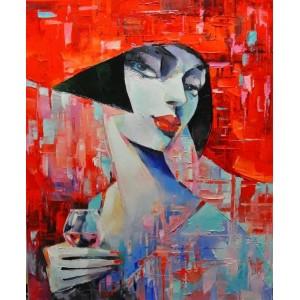 Дівчина з келихом червоного...