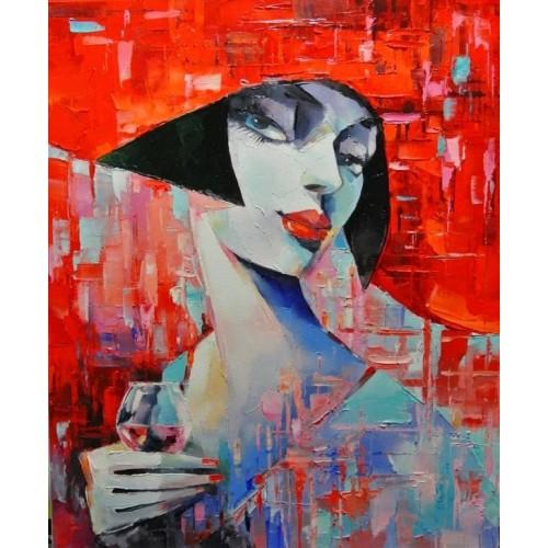 Дівчина з келихом червоного вина