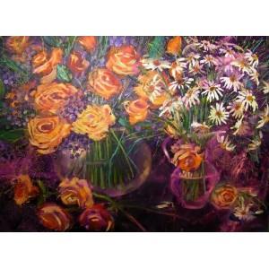 Желтые розы и ромашки
