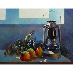 Натюрморт с лампой и грушами
