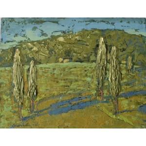 Пейзаж з тополями