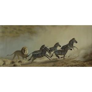 Лев и его зебры