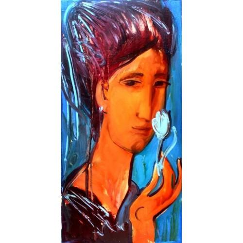 Девушка с голубым тюльпаном