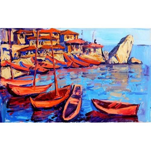 Морское побережье. Лодки