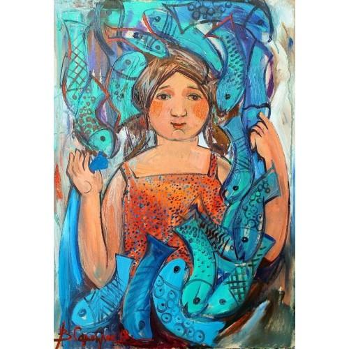 Девочка с голубыми рыбками