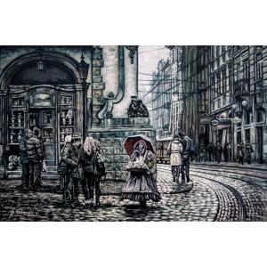 картина маслом, Серый город 2, городской пейзаж