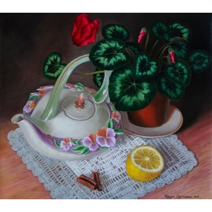 Натюрморт с фарфоровым чайничком