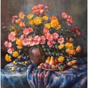 Натюрморт с хризантемами 2