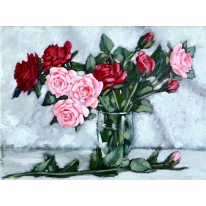 картина маслом, натюрморт, Розы для влюбленных, Радаева Елена