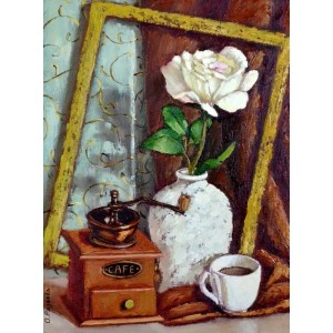 картина маслом, натюрморт,  Утренний кофе, Радаева Елена