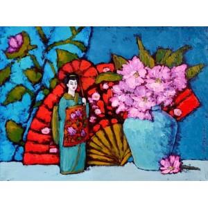 картина маслом, Натюрморт с японской куклой, Радаева Елена