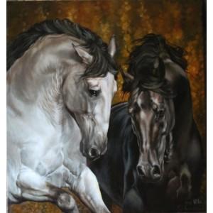 картина маслом, Фламенко, Лычагина Юлия, кони, лошади