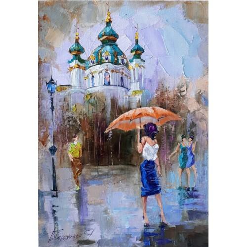 картина маслом, Бабье лето в Киеве, Побережная Яна