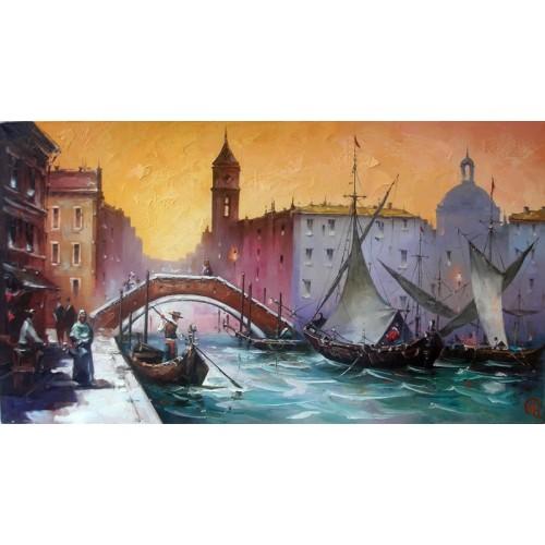 картина маслом, Венеция. Вечер, Кухарский Игорь