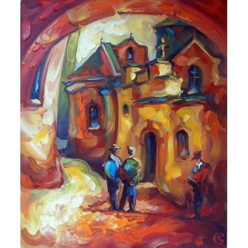 картина маслом, Армянский дворик, Кухарский Игорь
