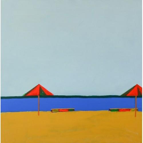 картина маслом, Пляжные зонтики, Некраха Игорь