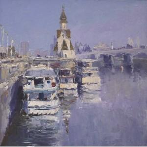 картина масло, Утро на Днепре, Федоренко Евгений