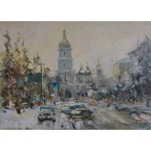 картина масло, Киевская зима, Федоренко Евгений