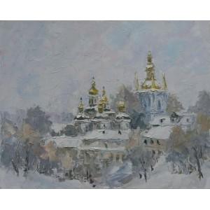 картина масло, Зимний день, Федоренко Евгений