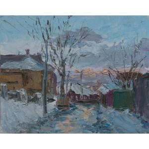 картина масло, Зимовий вечір, Федоренко Євген