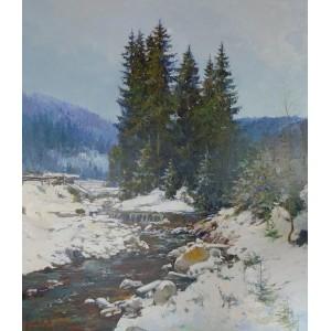 картина маслом, Гірська річка. Грицина Віктор