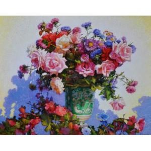 картина маслом, Цветы в зеленой вазе. Грицина Виктор.