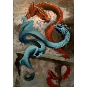 картина акрил, Драконы, Звольская Вика