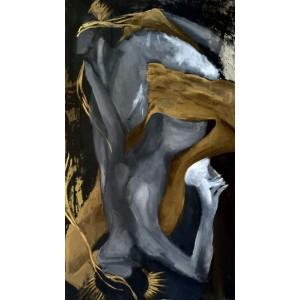 картина акрил, золотая гризайль, В любви, Звольская Вика