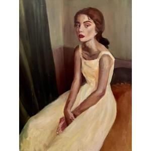 картина акрил, Дівчина у вітальні, Звольська Віка
