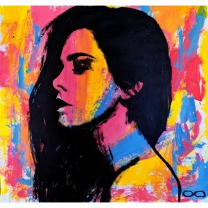 картинка - картина акрил, Purple Girl, рожева дівчина, Ет Сіміян
