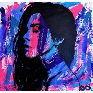 картина акрил, Purple Girl, фіолетова дівчина, Ет Сіміян