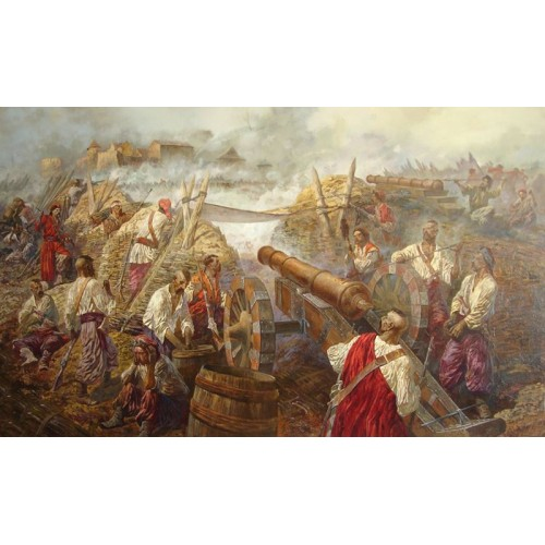 картина маслом, Осада Жванецкого замка. Осень 1652 года, Серебряков Андрей