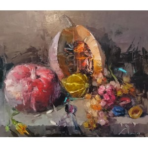 Натюрморт с тыквами и виноградом
