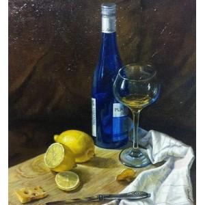 Натюрморт с синей бутылкой