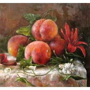 Персики и лилия