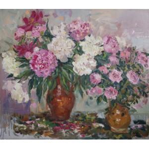 Натюрморт с розами и пионами